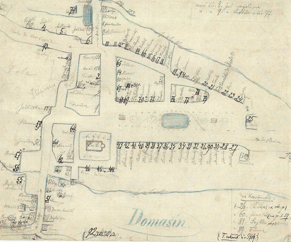 MAPA DOMAŠÍNA DLE F.A.SLAVÍKA SE JMÉNY STAV 1667, 1789