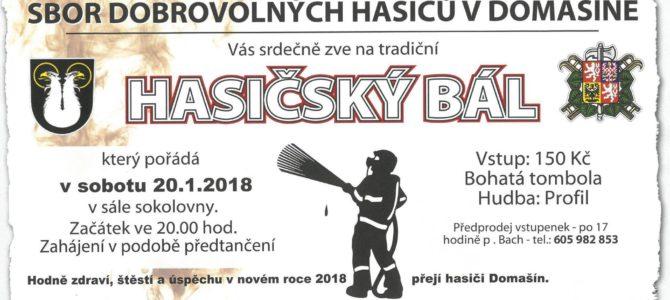 Pozvánka na tradiční hasičský bál od SDH Domašín
