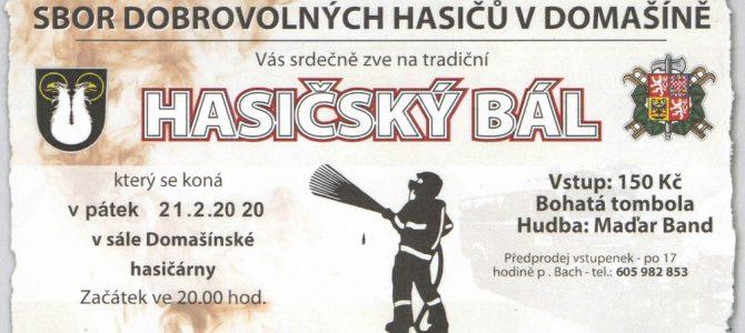 Pozvánka na tradiční hasičský bál od SDH Domašín (pozor, letos změna místa konání!)